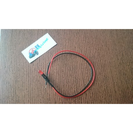 Led rouge cablée 3mm 6v-12v